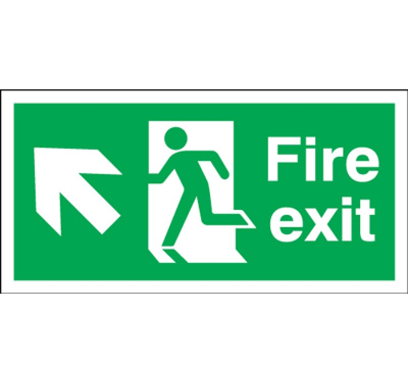 150mm X 450mm Fire Exit Sign Exit Running Man Arrow Up L