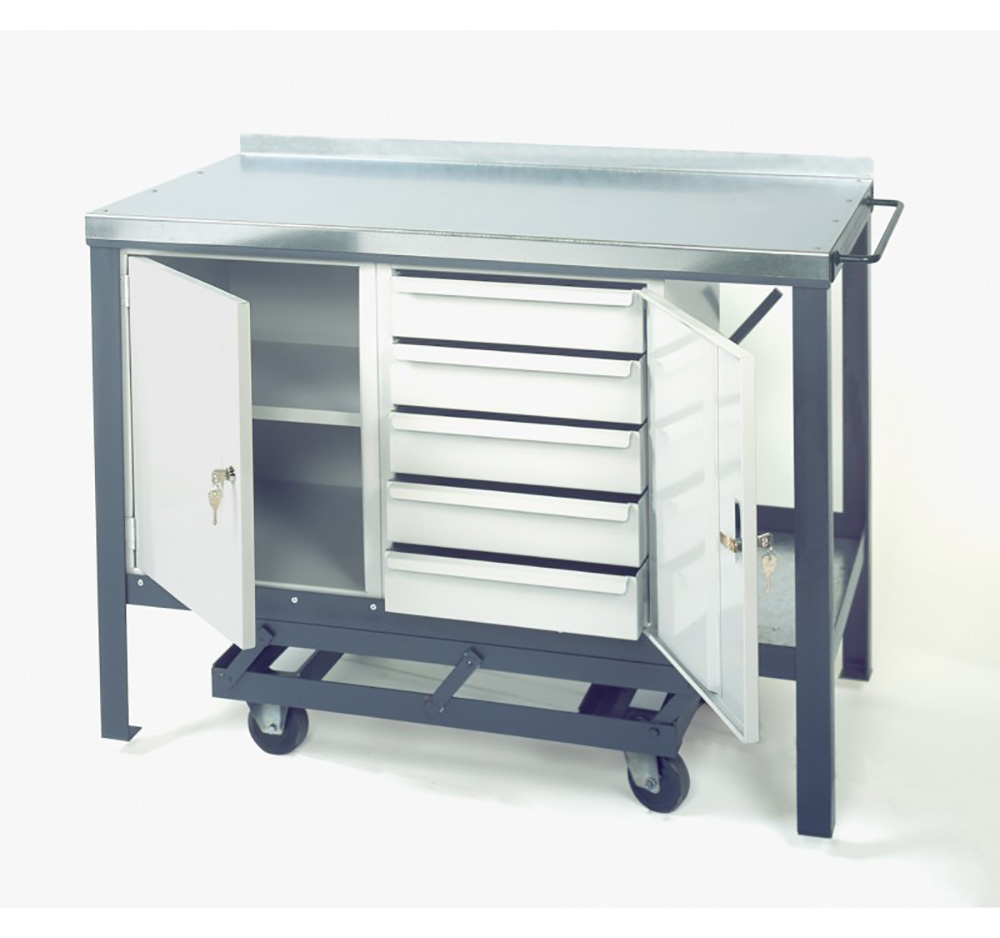 Steel Heavy Duty Mobile Workbench with 5 drawer unit 840mm x 1500mm x 600mm  Blue