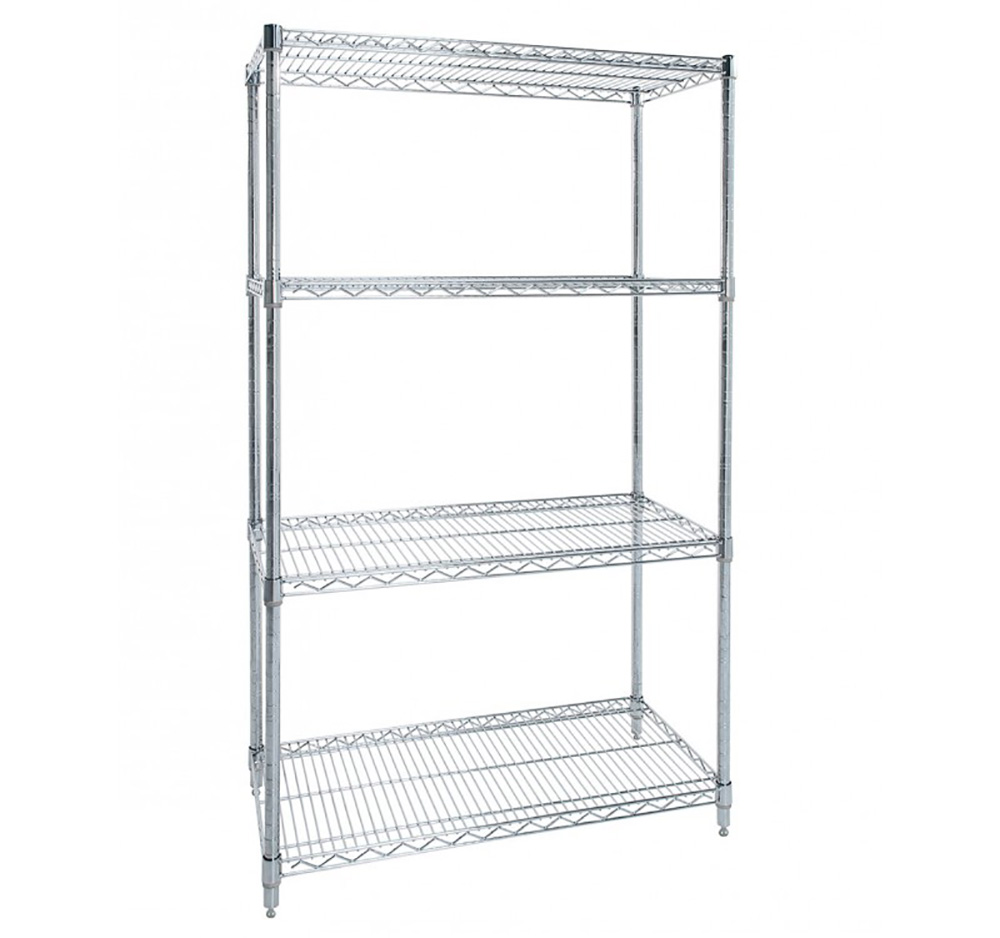 Flat Shelf Chrome Wire Shelving Bay