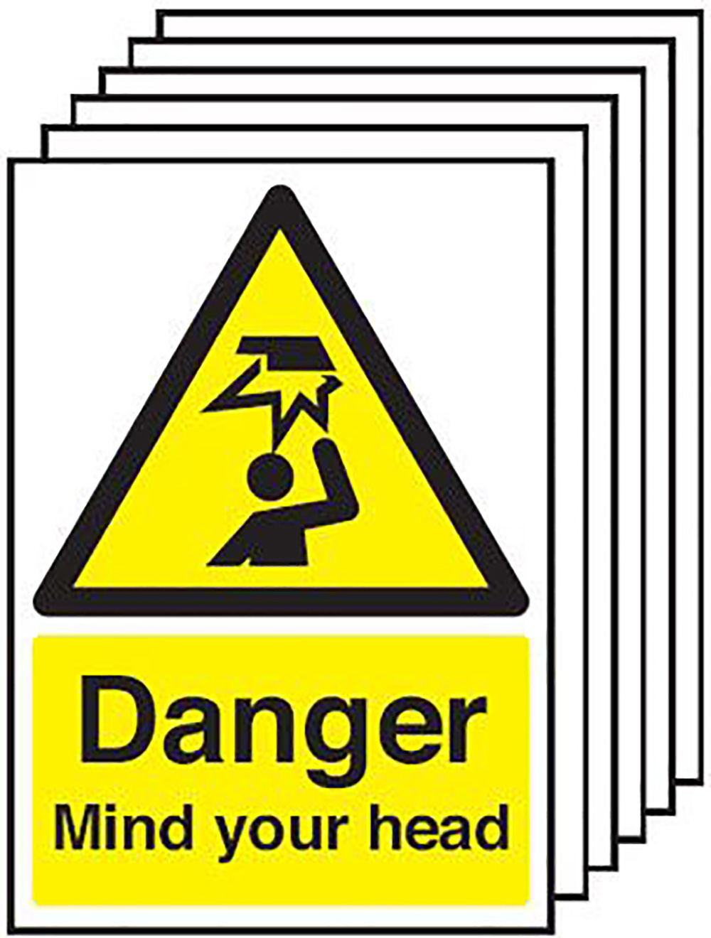 Danger Mind Your Head  420x297mm Self Adhesive Vinyl Safety Sign Pack of 6
