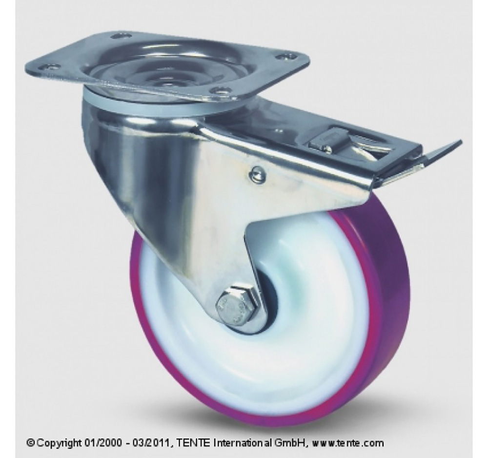 100mm Stainless Steel Top Plate Swivel Castor and Swivel   Wheel Brake - Polyurethane Tyre / Nylon Centre