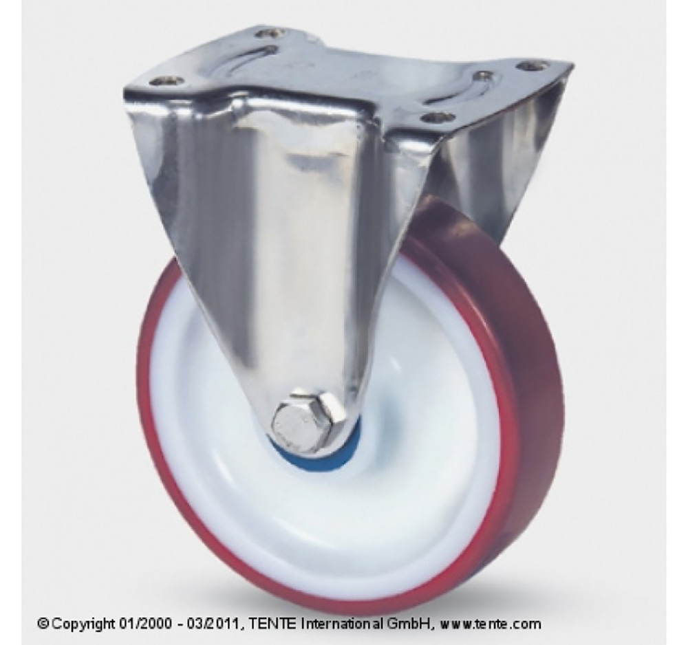 125mm Stainless Steel Top Plate Fixed Castor - Polyurethane Tyre / Nylon Centre