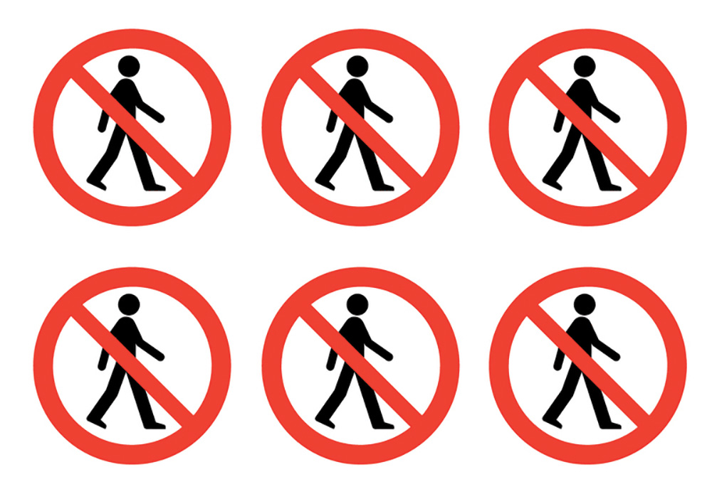 No Pedestrian Symbols  100mm Self Adhesive Vinyl Safety Sign Pack of 30