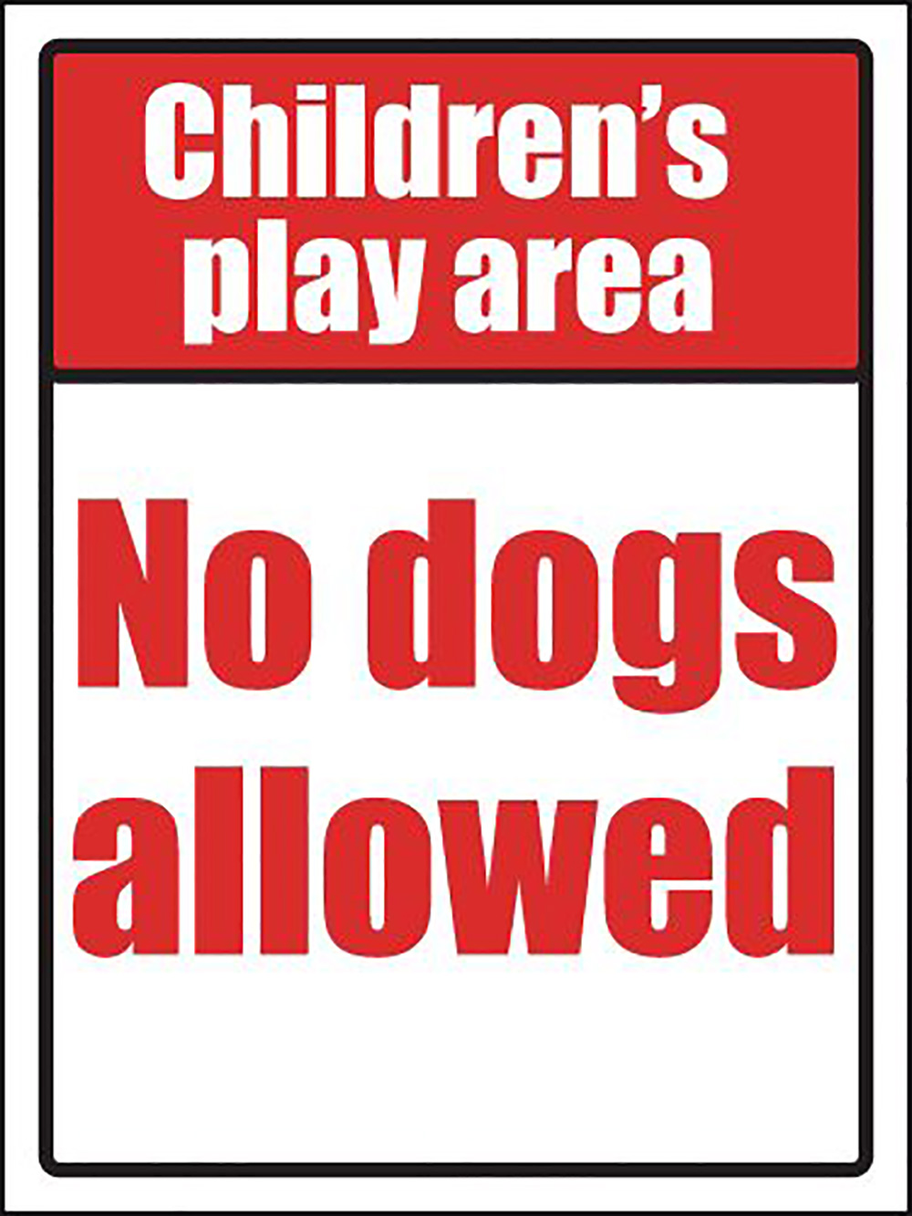 Childrens play area no dogs allowed School Sign 400x300mm 1.2mm Rigid Plastic Safety Sign