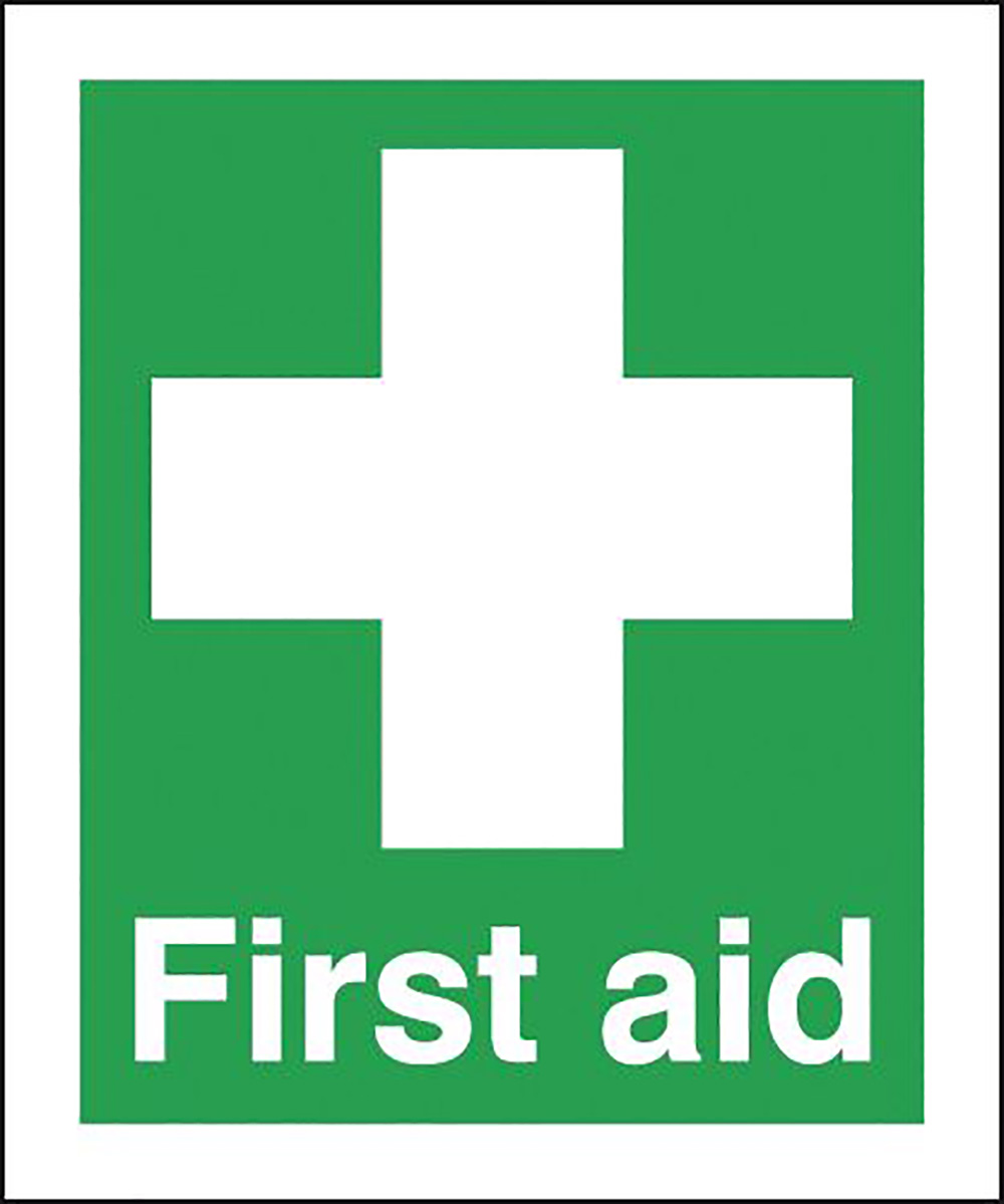 First Aid 150x300mm Self Adhesive Vinyl Safety Sign