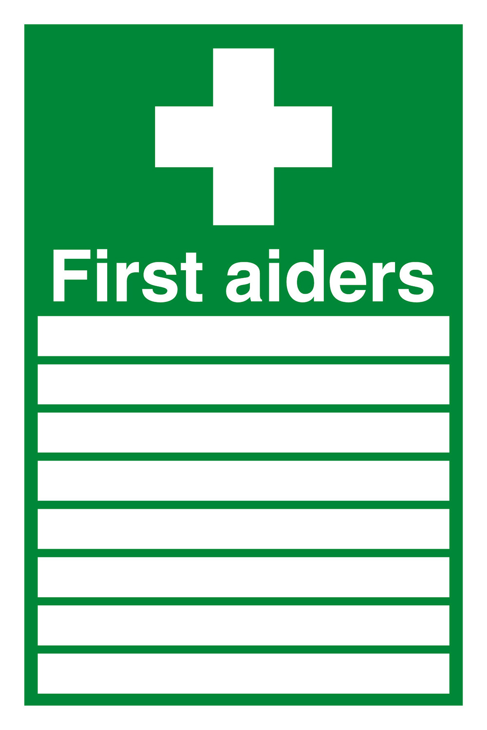 First Aiders  with spaces  300x200mm Self Adhesive Vinyl Safety Sign