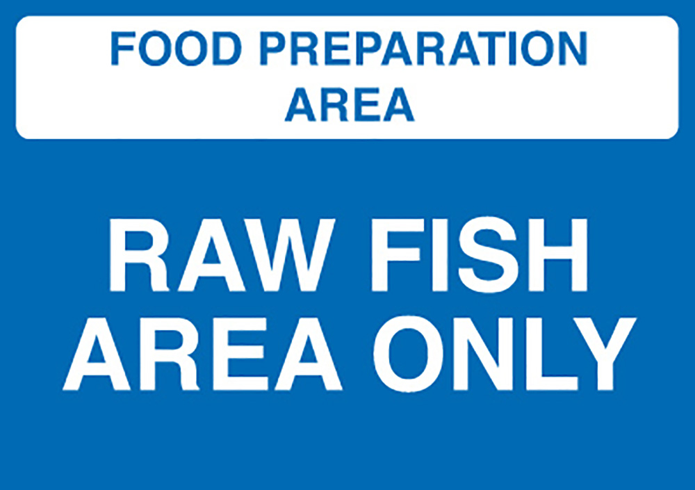 Food Prep Area - Salad and Fruit Area Only  148x210mm 1.2mm Rigid Plastic Safety Sign