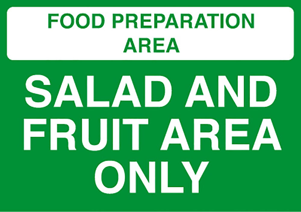 Food Prep Area - Vegetable Area Only  148x210mm 1.2mm Rigid Plastic Safety Sign