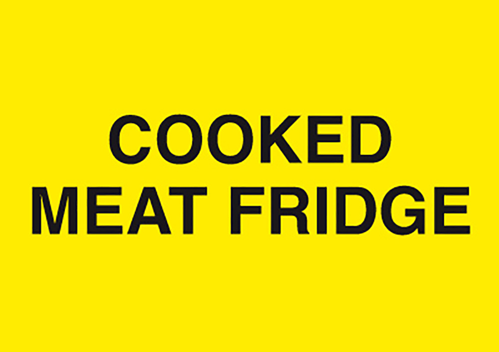 Cooked Meat Fridge 148x210mm 1.2mm Rigid Plastic Safety Sign