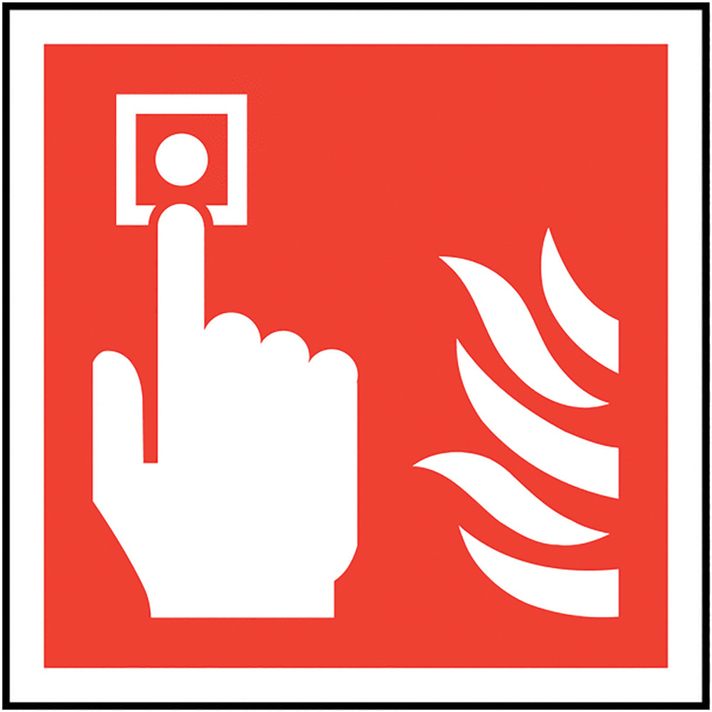 Fire Alarm Call Point Symbol Only  200x200mm Self Adhesive Vinyl Safety Sign