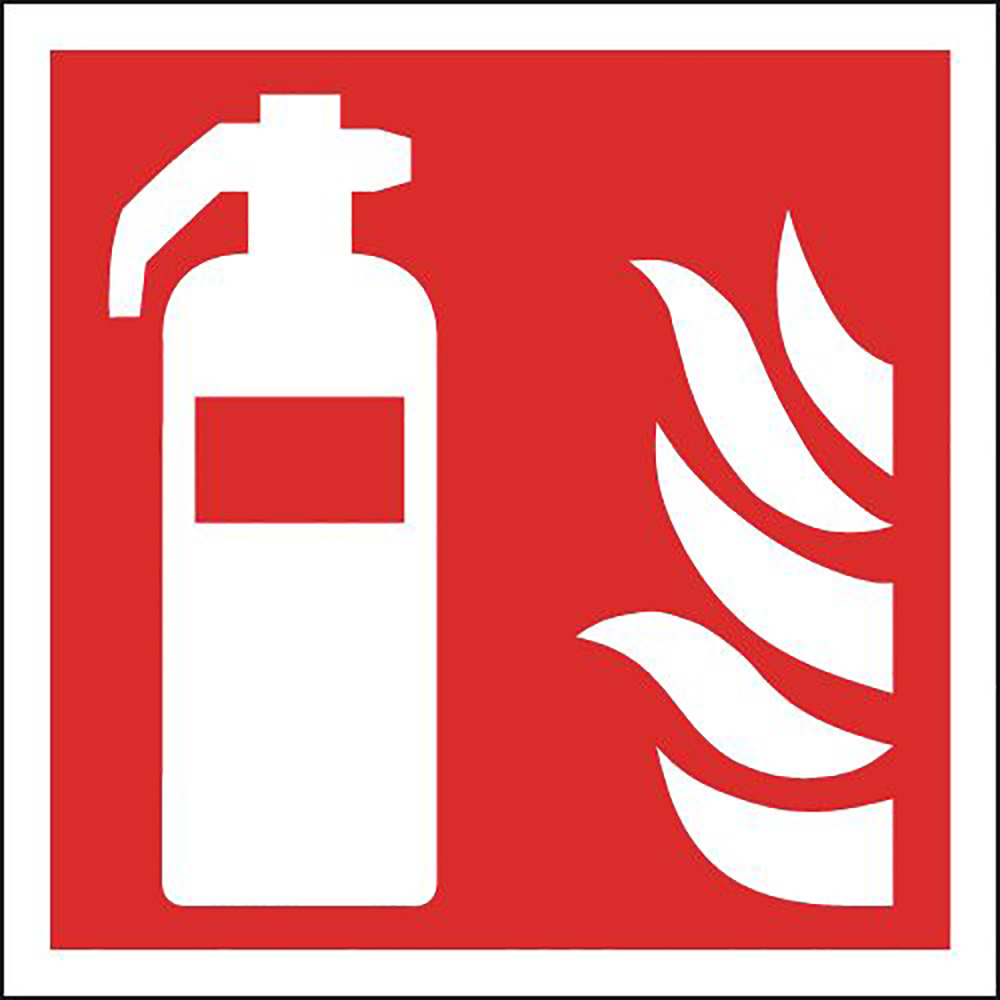 Fire Extinguisher Symbols Only  200x200mm 1.2mm Rigid Plastic Safety Sign