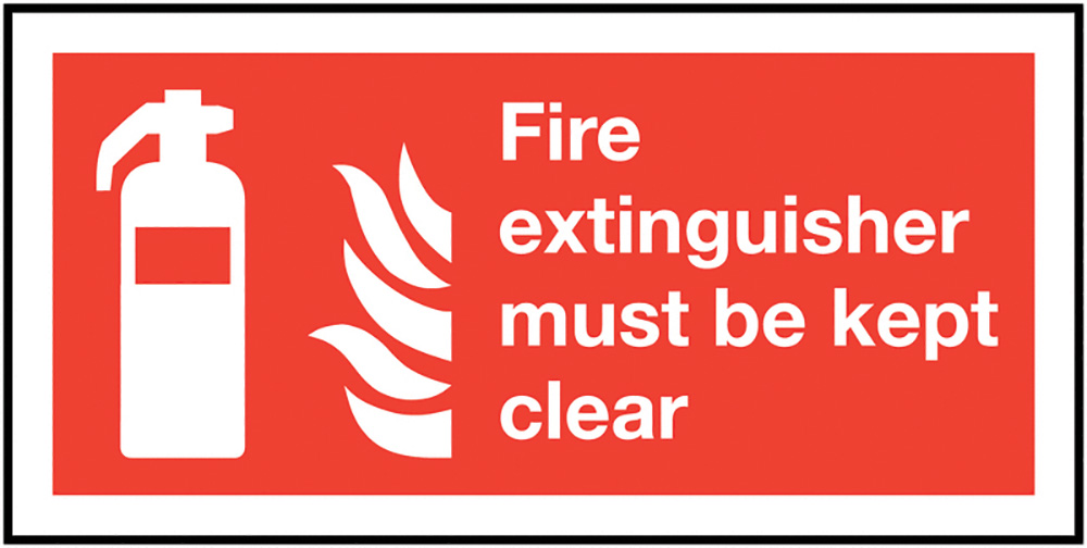 Fire Extinguisher Must Be Kept Clear  100x200mm 1.2mm Rigid Plastic Safety Sign