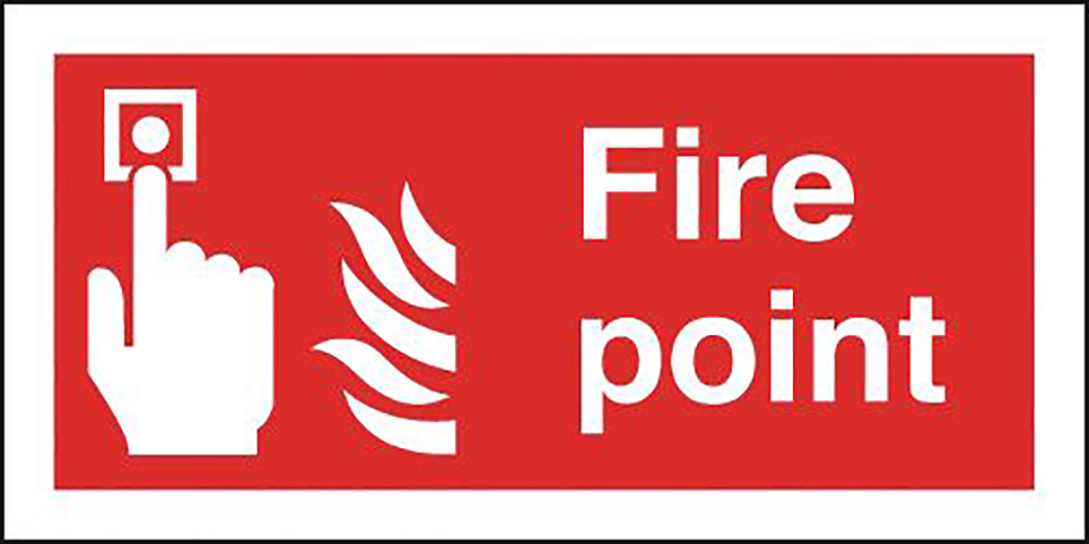 Fire Point  100x200mm 1.2mm Rigid Plastic Safety Sign