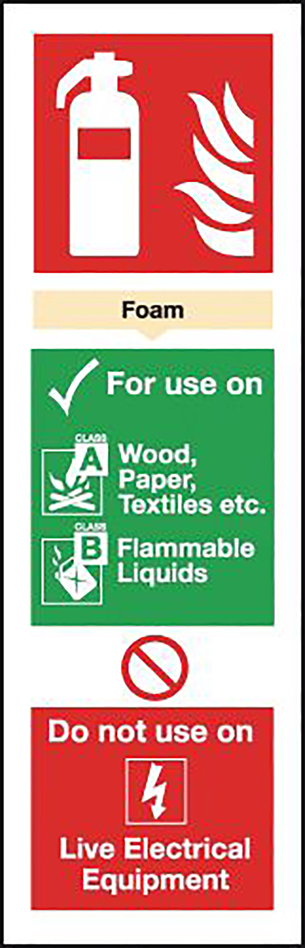Foam Extinguisher For Use On  300x100mm Self Adhesive Vinyl Safety Sign