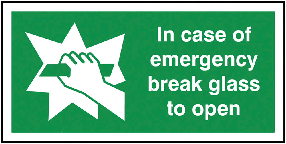 In Case Of Emergency Break Glass To Open  50x100mm 1.2mm Rigid Plastic Safety Sign