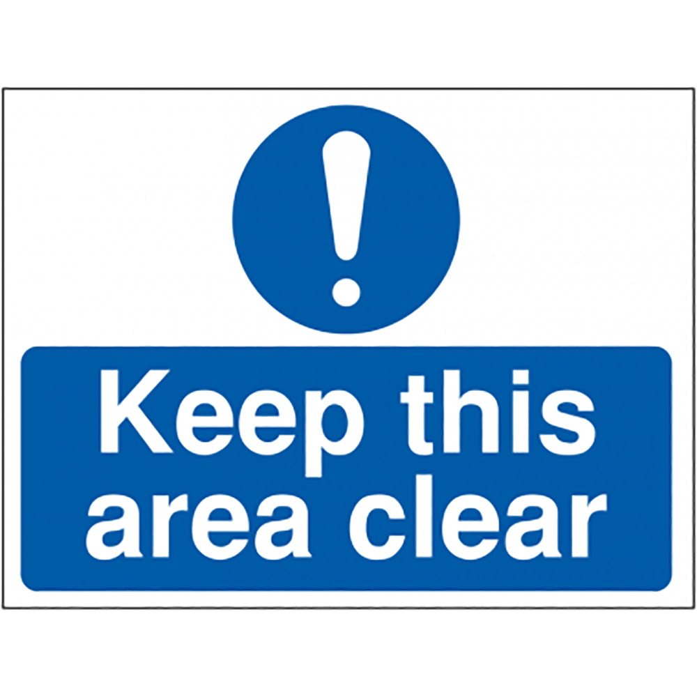 Keep this area clear  300x400mm 1.2mm Rigid Plastic Safety Sign