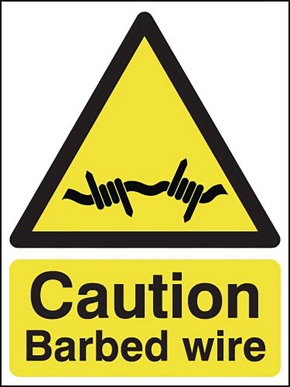Caution Barbed Wire 210x148mm 1.2mm Rigid Plastic Safety Sign