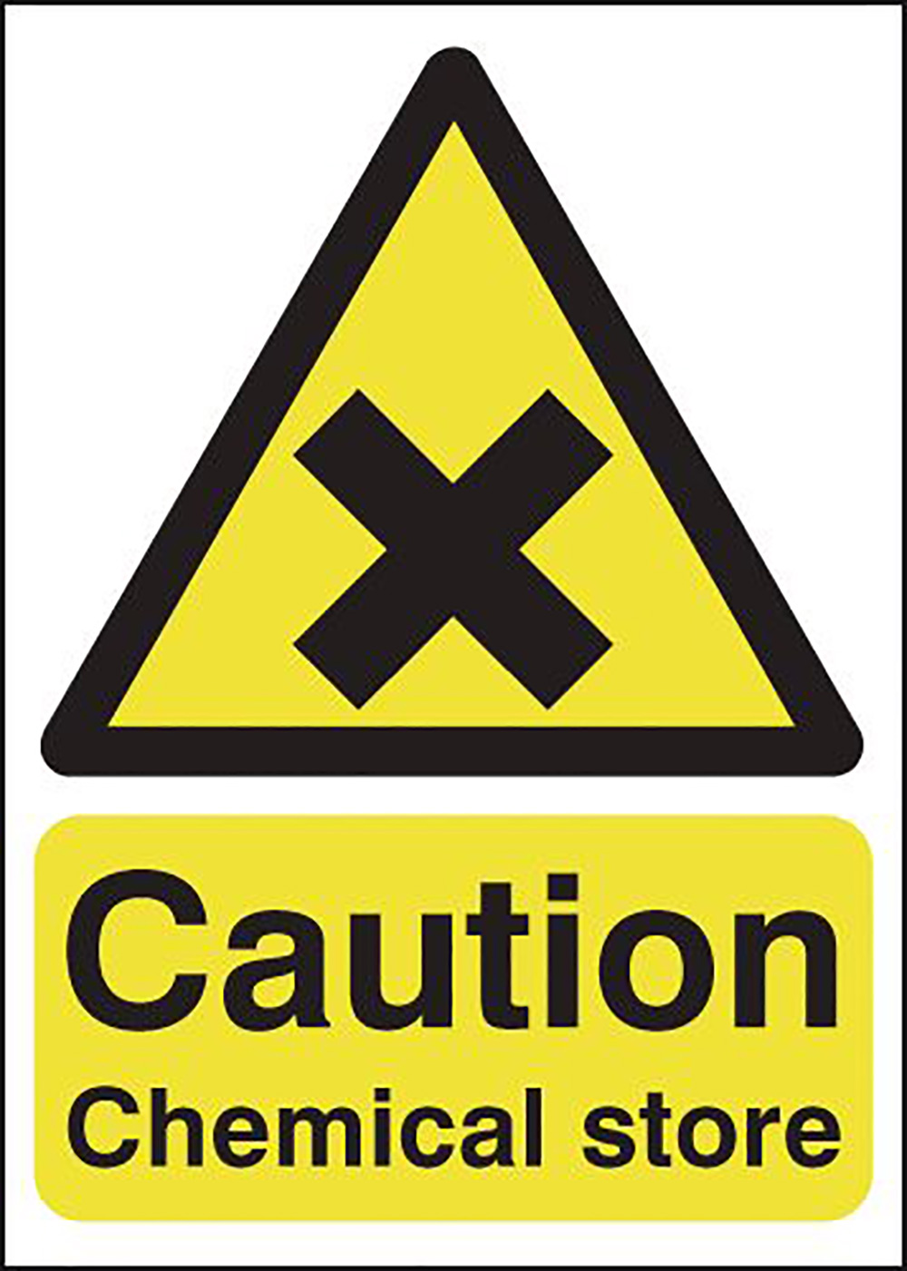Caution Chemical Store 125x125mm Self Adhesive Vinyl Safety Sign