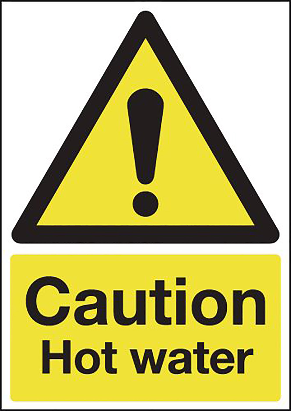 Caution Hot Water 210x148mm Self Adhesive Vinyl Safety Sign