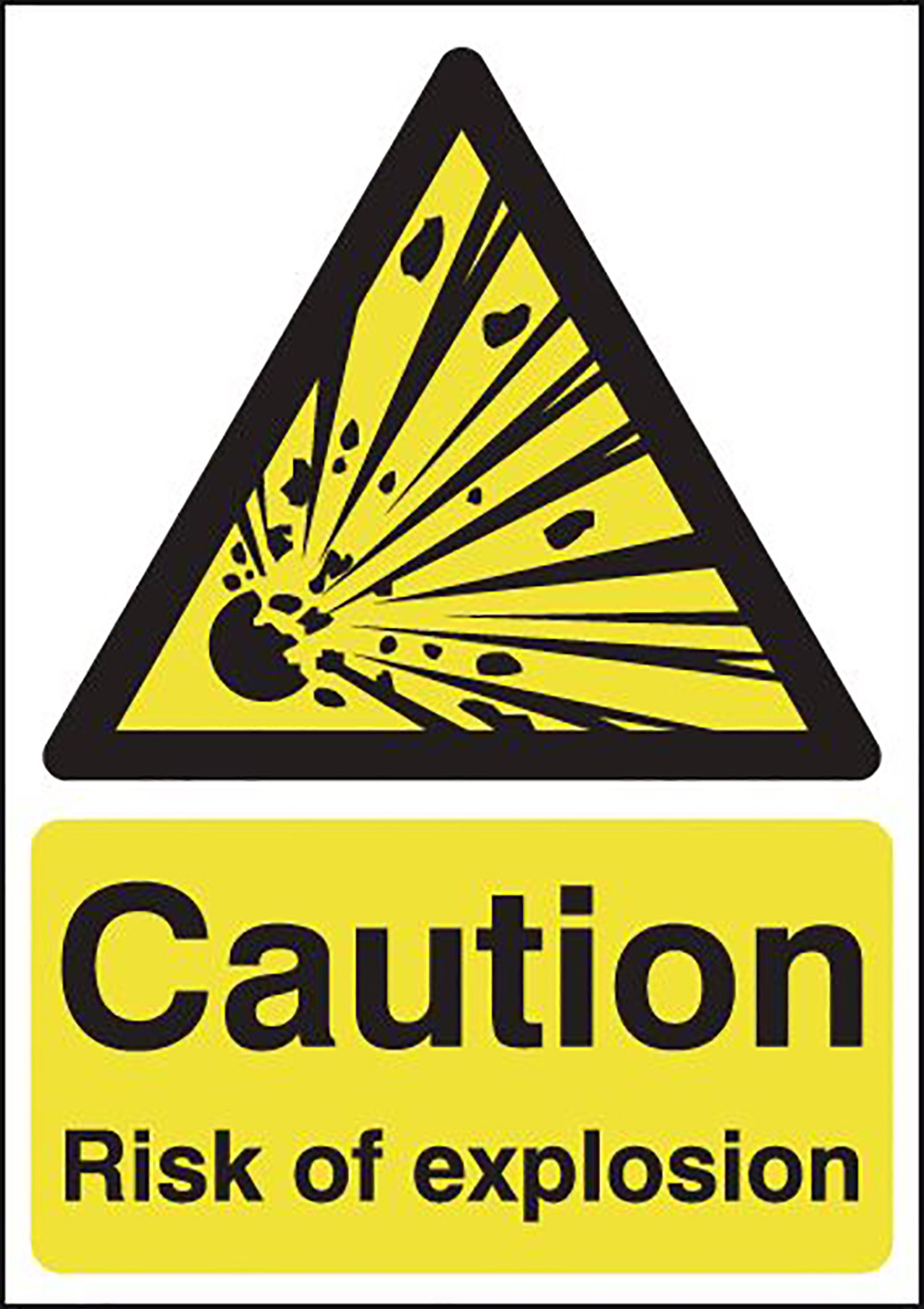 Caution Risk of Explosion  297x210mm 1.2mm Rigid Plastic Safety Sign