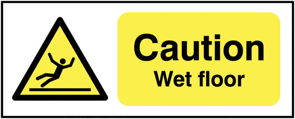 Caution Wet Floor 100x250mm 1.2mm Rigid Plastic Safety Sign