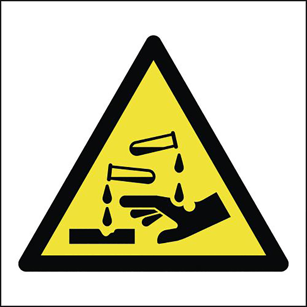 Corrosive Symbol 150x150mm 1.2mm Rigid Plastic Safety Sign