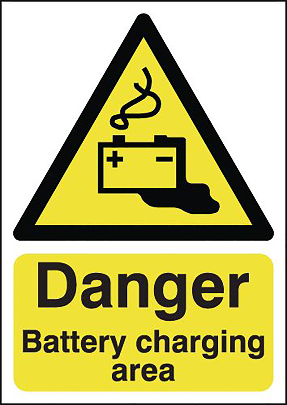 Danger Battery Charging Area 420x297mm Self Adhesive Vinyl Safety Sign