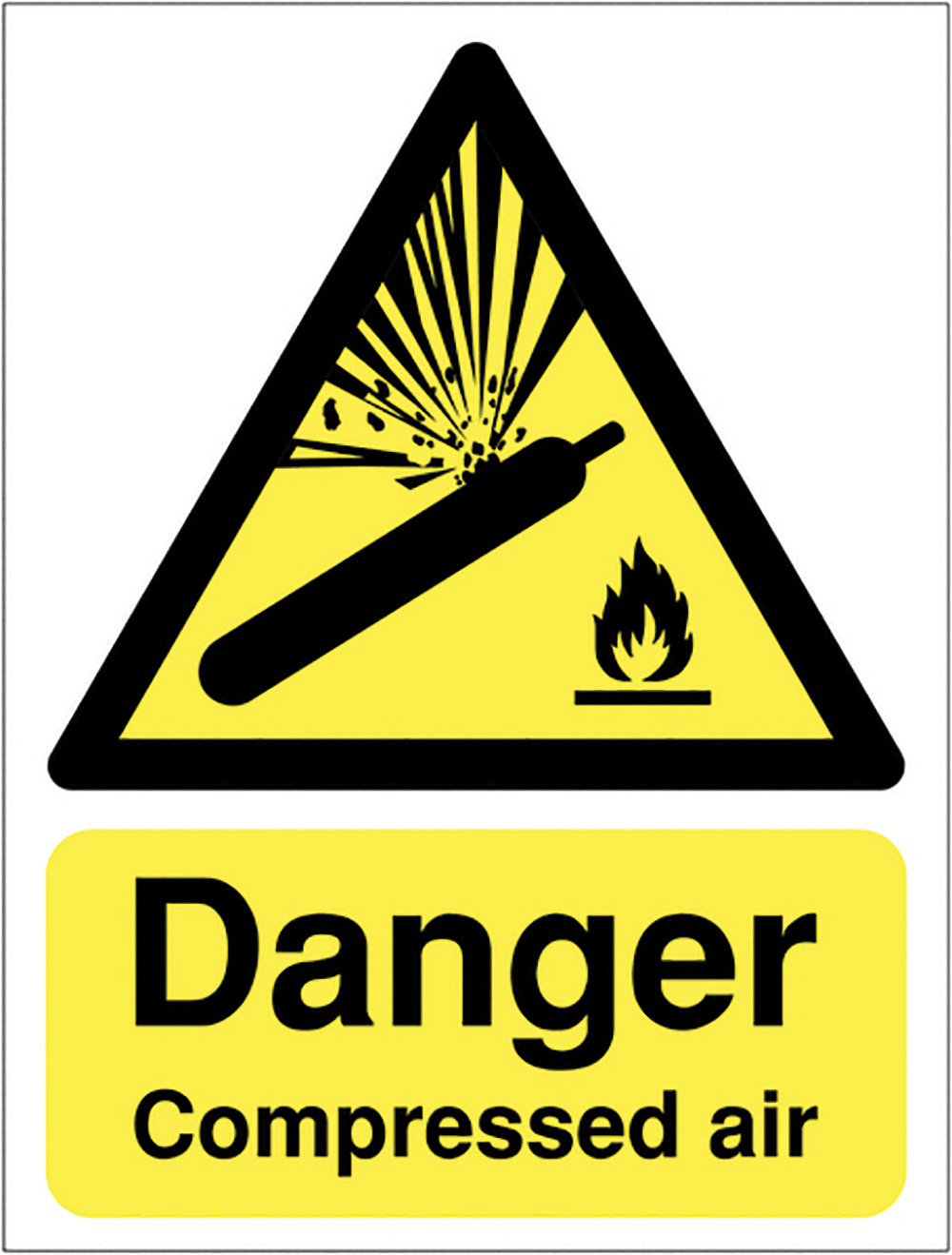 Danger Compressed Air 420x297mm Self Adhesive Vinyl Safety Sign