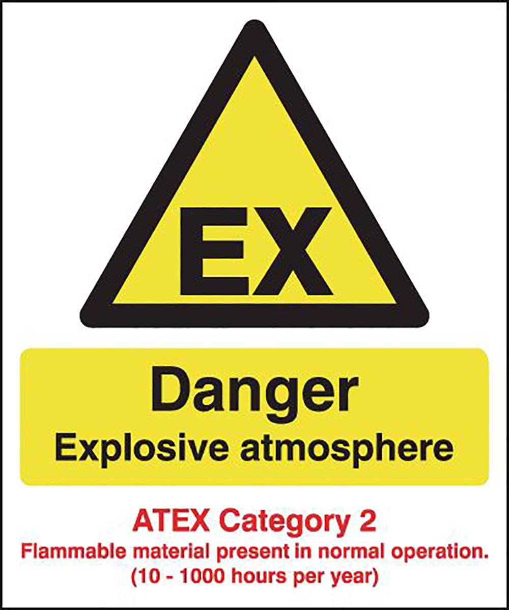 Danger Explosive Atmosphere  ATEX Category 2  297x210mm Self Adhesive Vinyl Safety Sign