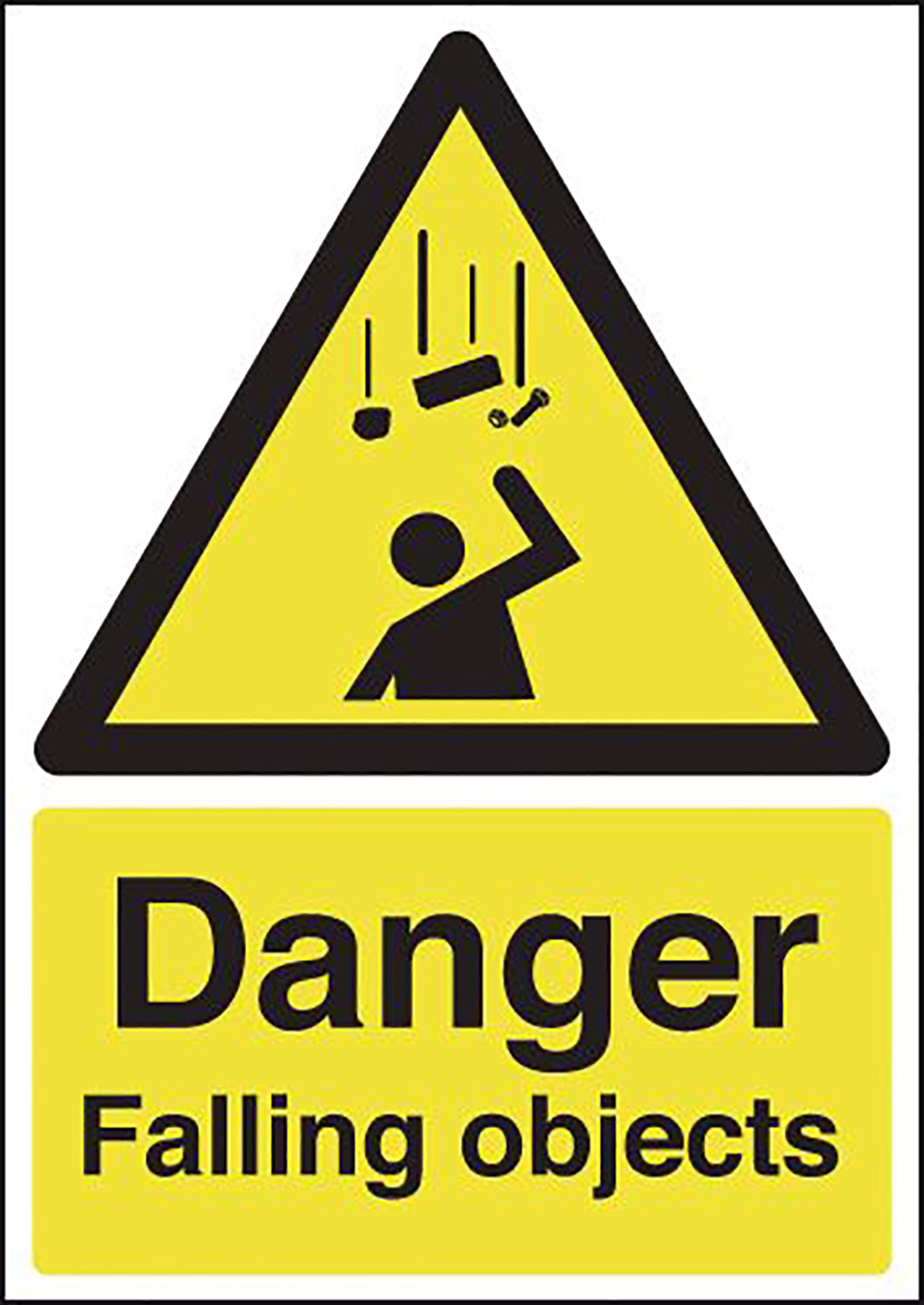 Danger Falling Objects 297x210mm 1.2mm Rigid Plastic Safety Sign