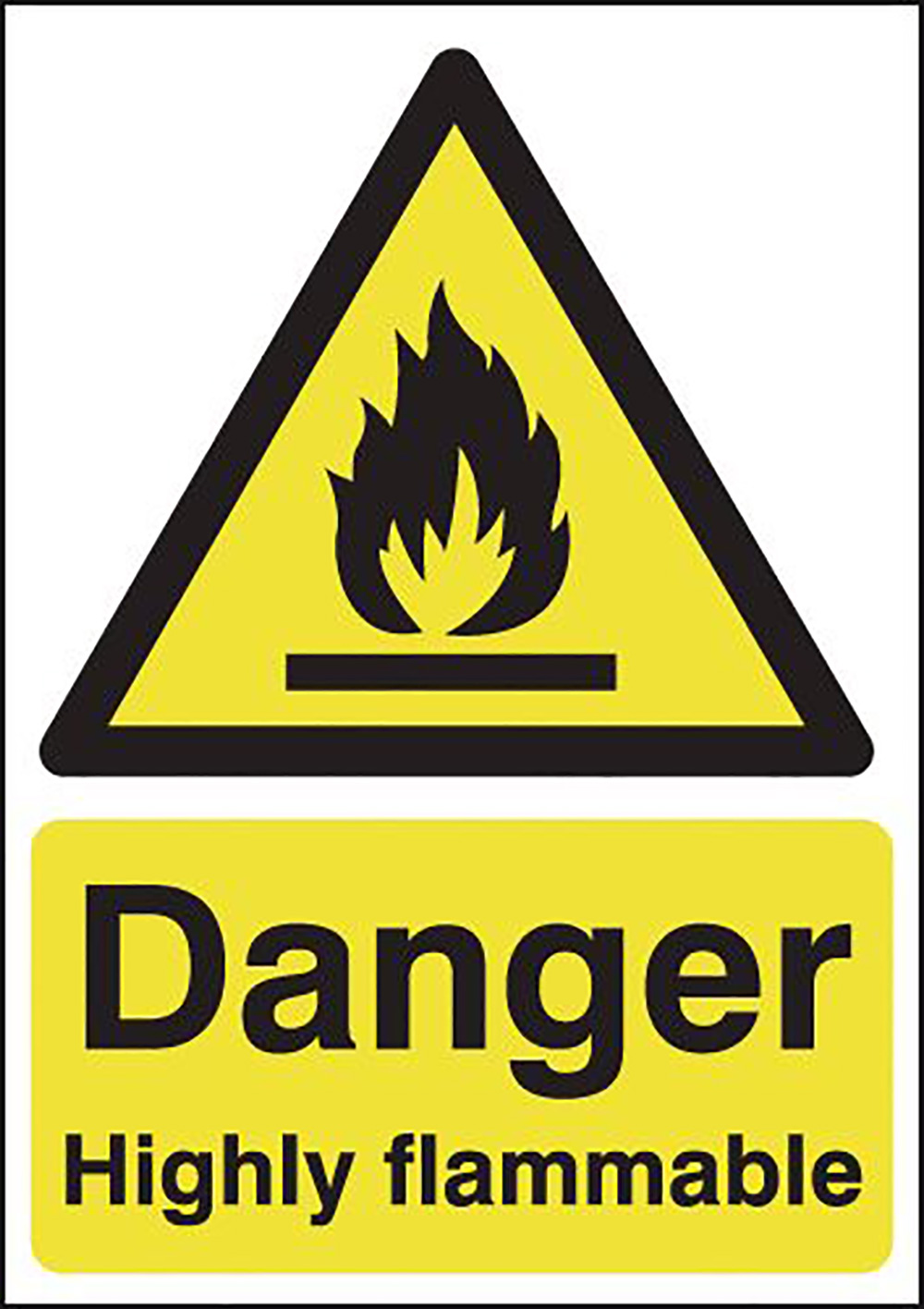Danger Highly Flammable 420x297mm Self Adhesive Vinyl Safety Sign