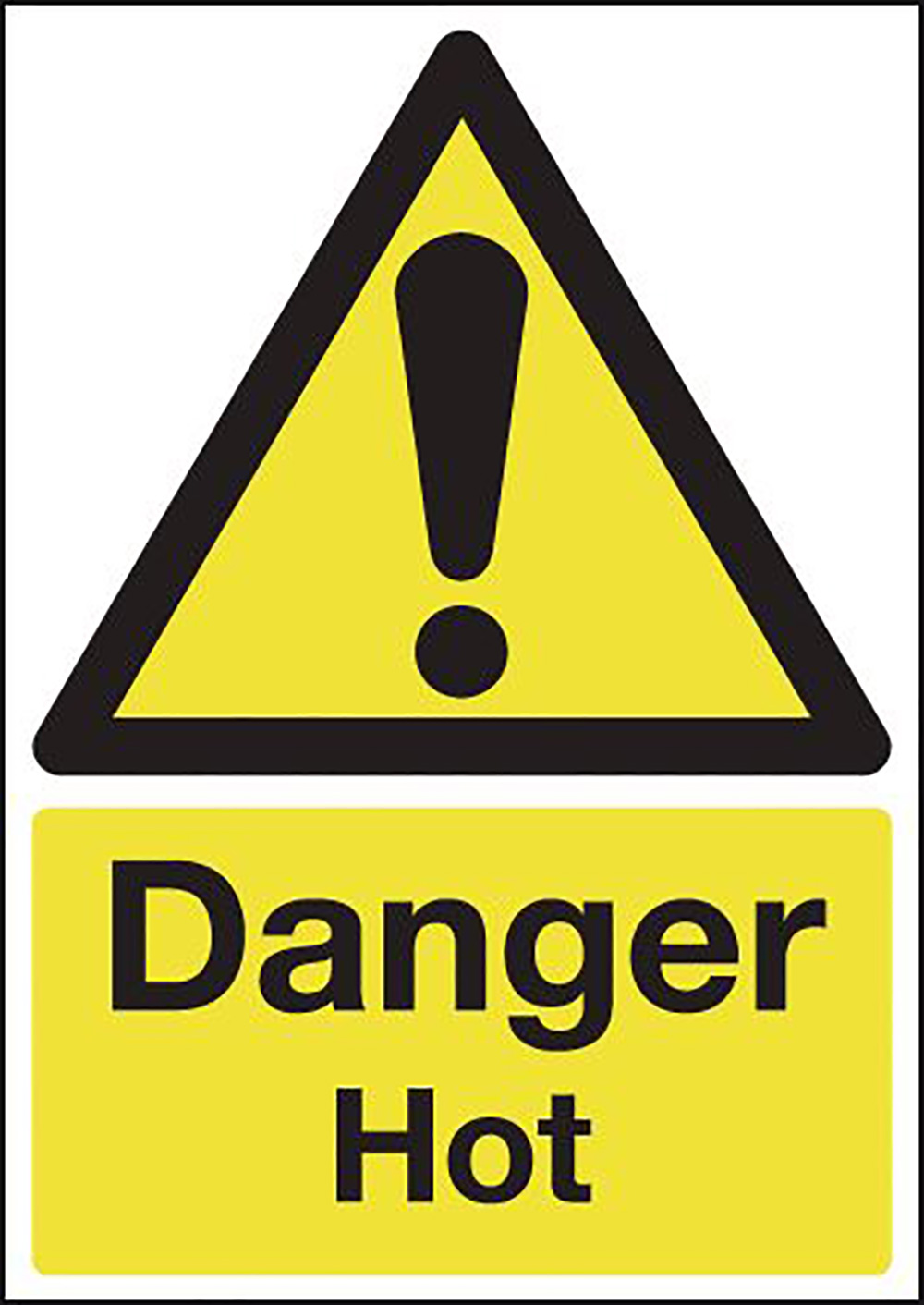 Danger Hot 210x148mm Self Adhesive Vinyl Safety Sign