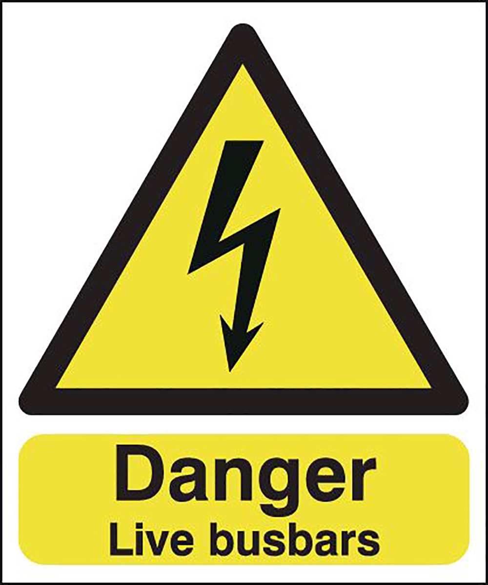 Danger Live Busbars   100x250mm 1.2mm Rigid Plastic Safety Sign