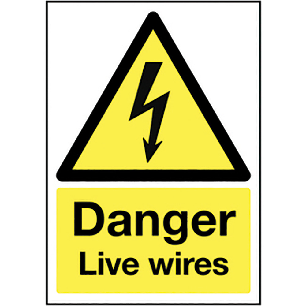Danger Live Wires  297x210mm Self Adhesive Vinyl Safety Sign