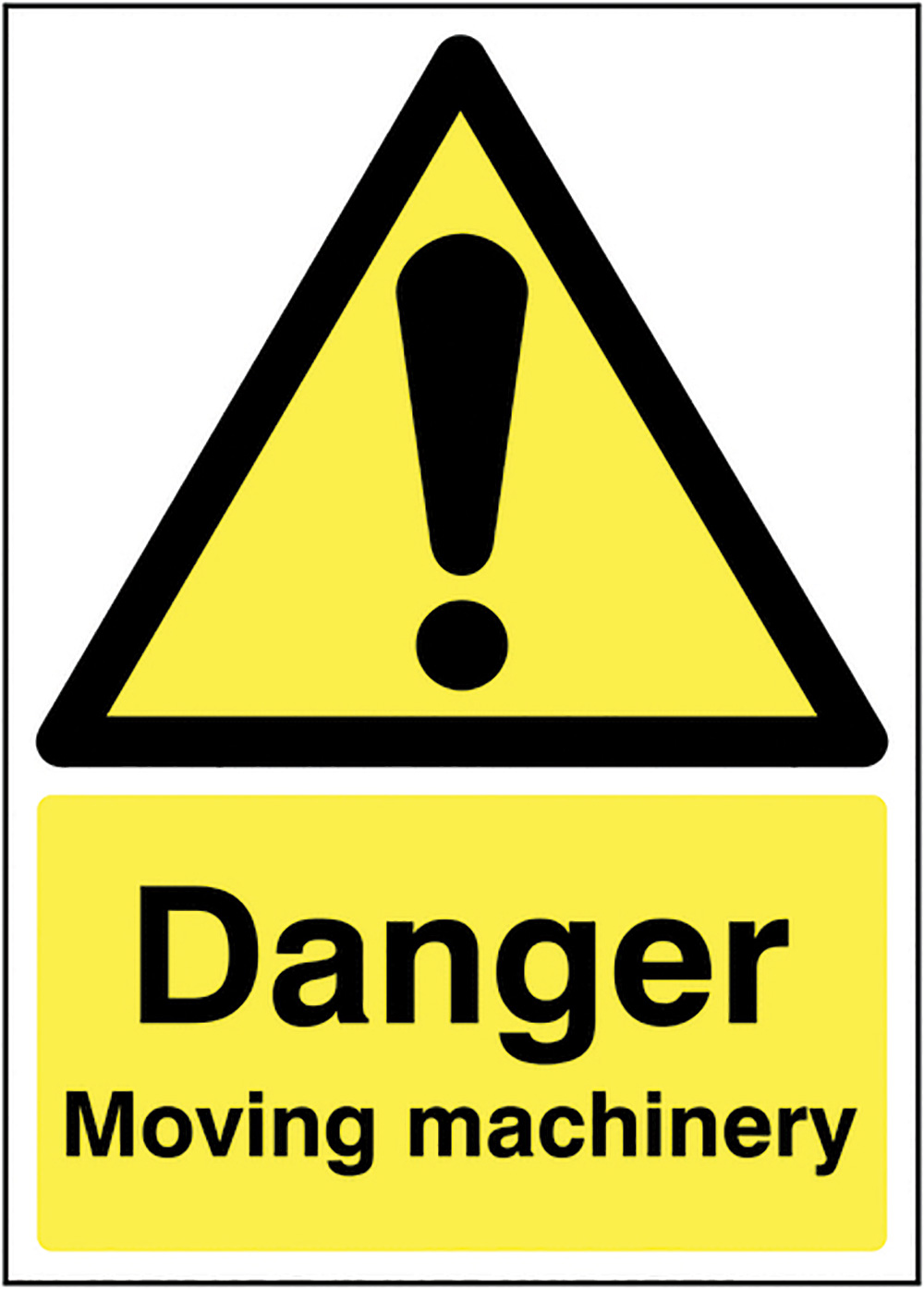 Danger Moving machinery 210x148mm 1.2mm Rigid Plastic Safety Sign