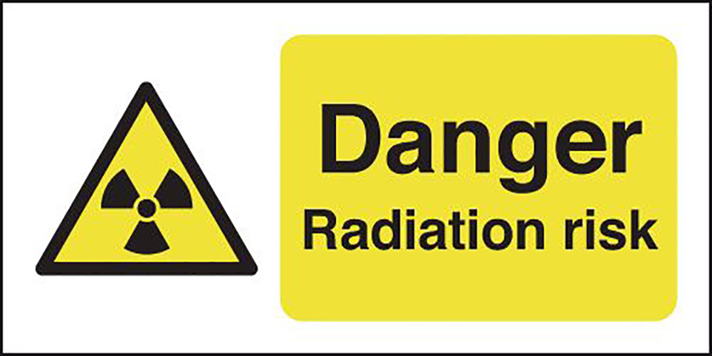 Danger Radiation Risk 297x210mm 1.2mm Rigid Plastic Safety Sign