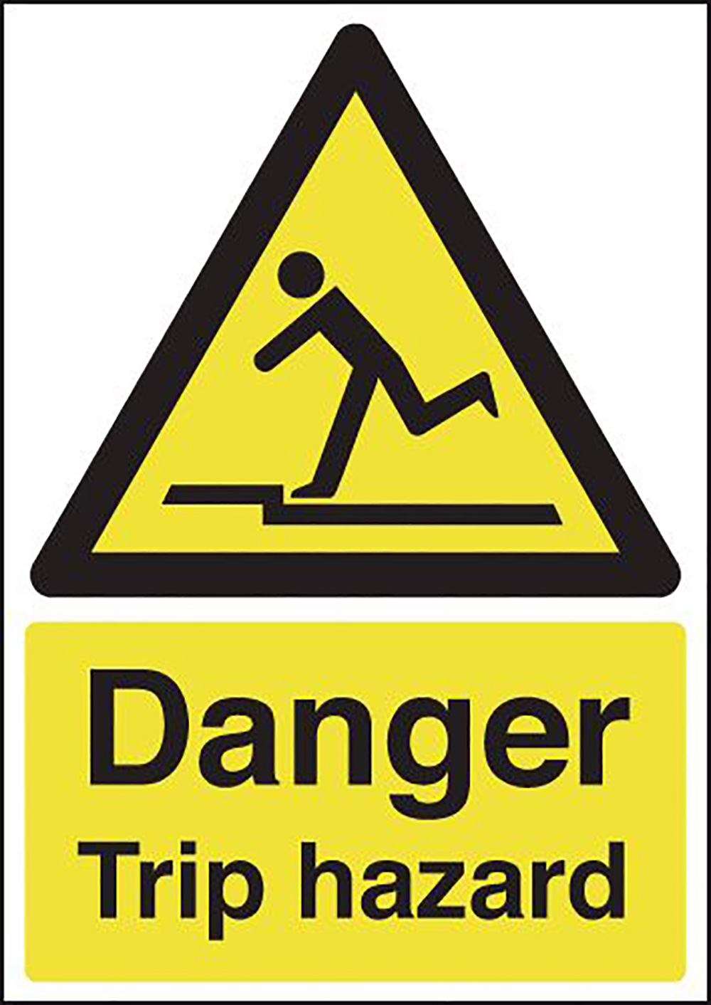 Danger Trip Hazard 210x148mm 1.2mm Rigid Plastic Safety Sign