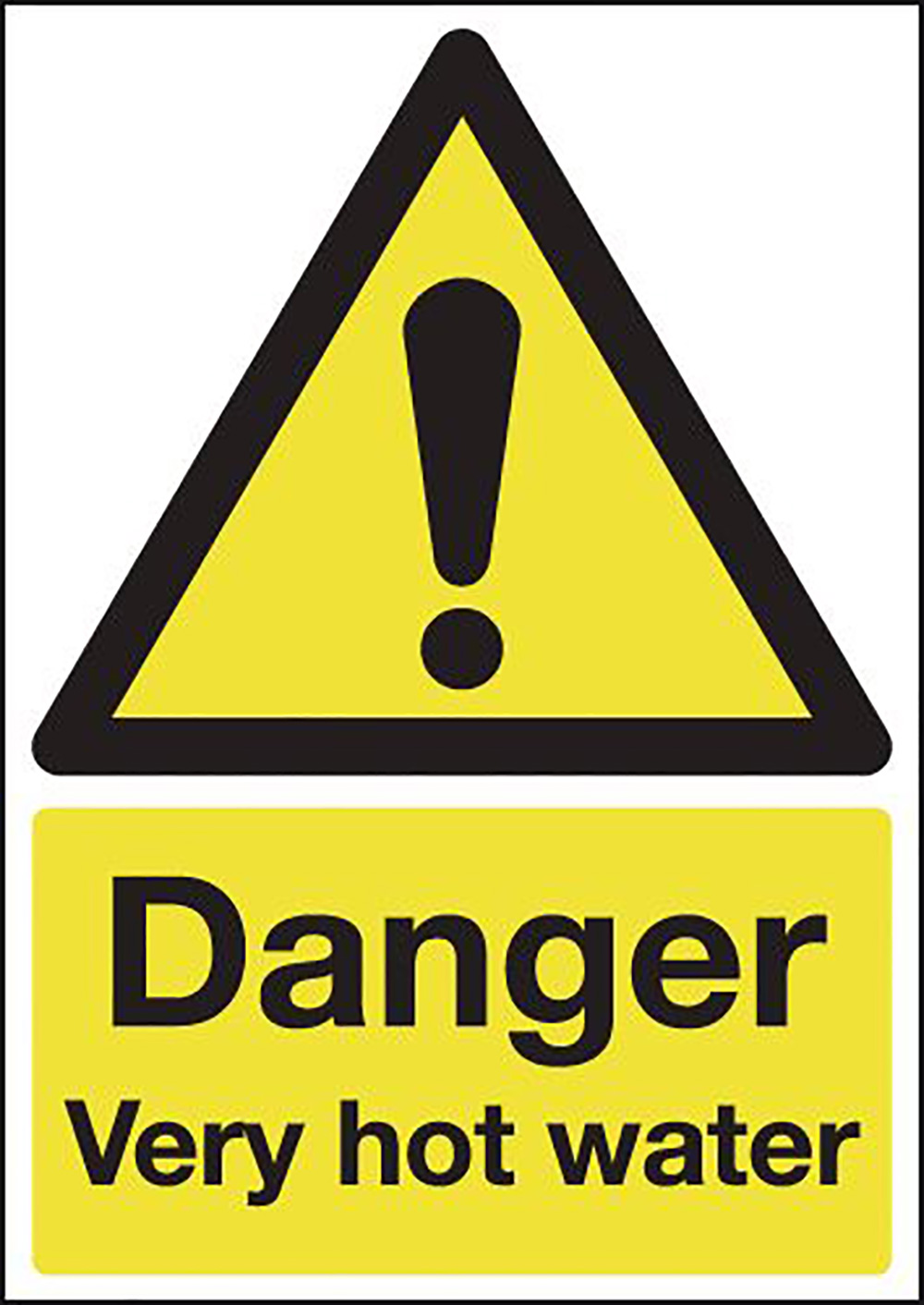 Danger Very Hot Water 210x148mm Self Adhesive Vinyl Safety Sign