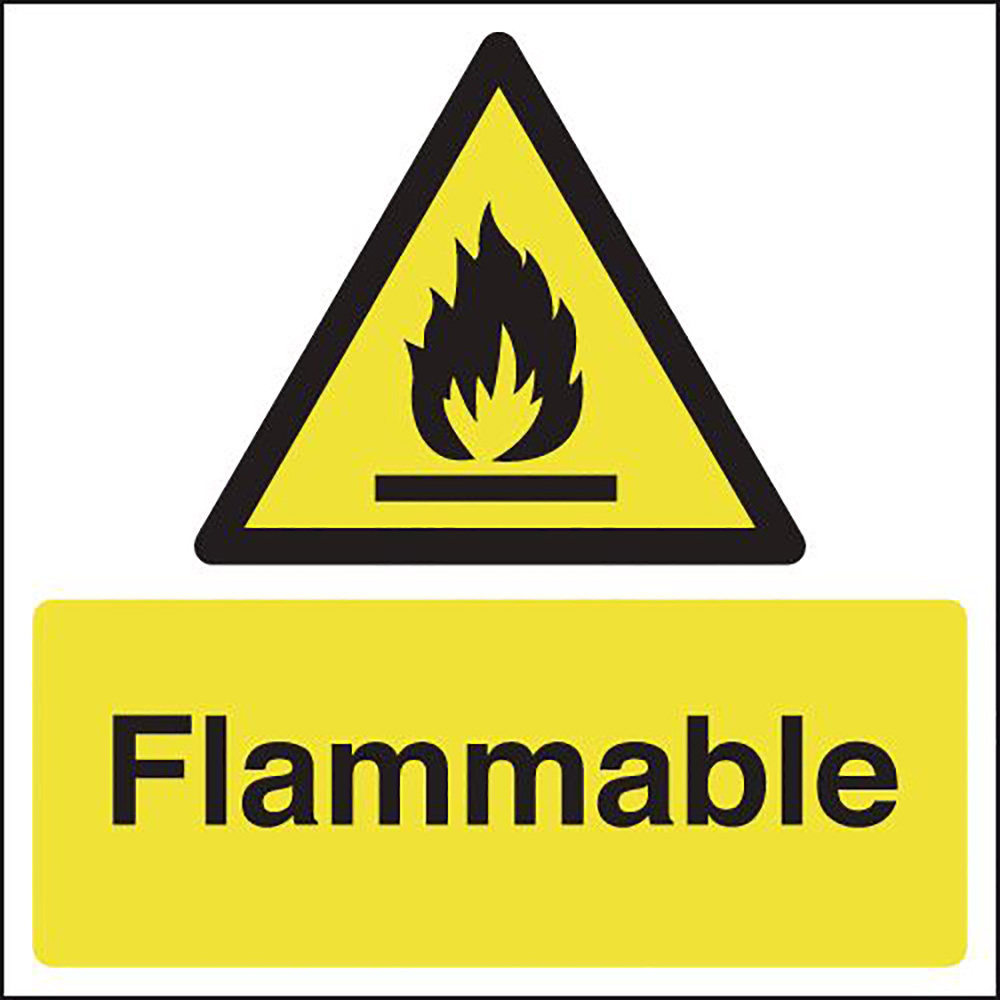Flammable 297x210mm Self Adhesive Vinyl Safety Sign