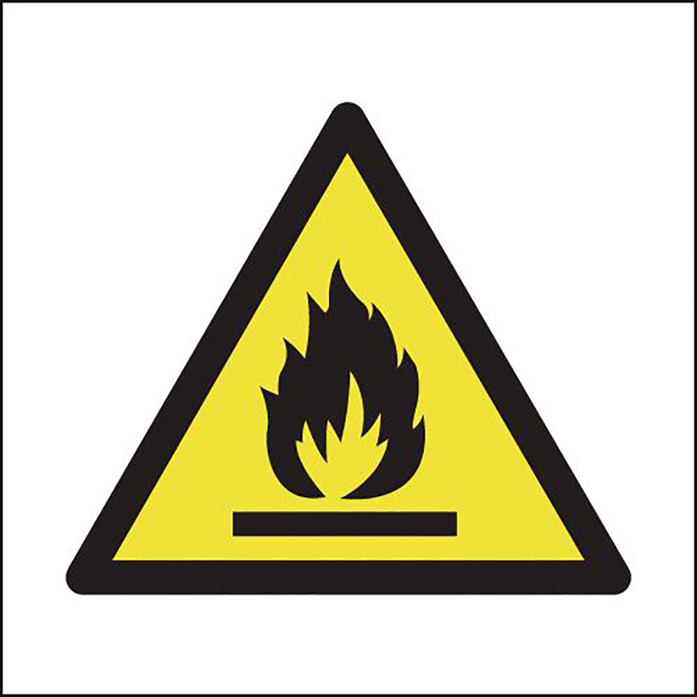 Flammable Symbol 150x150mm 1.2mm Rigid Plastic Safety Sign