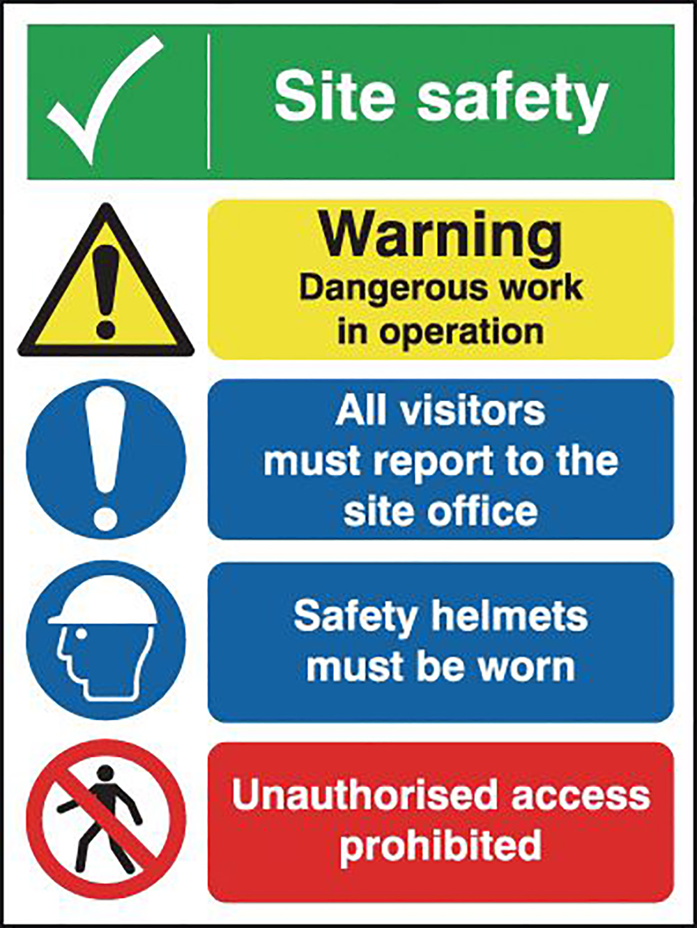 400x300mm Site Safety Warning Dangerous Site Safety Board