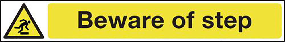 Beware of Step 60x400mm 1.2mm Rigid Plastic Safety Sign