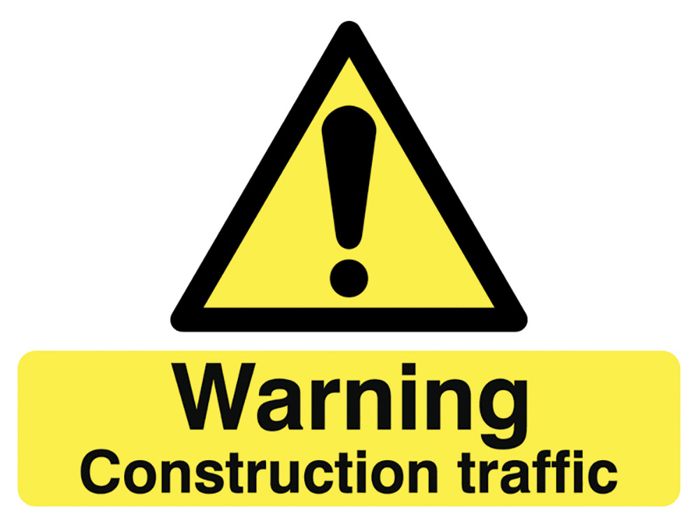 450x600mm Warning Construction traffic stanchion signs