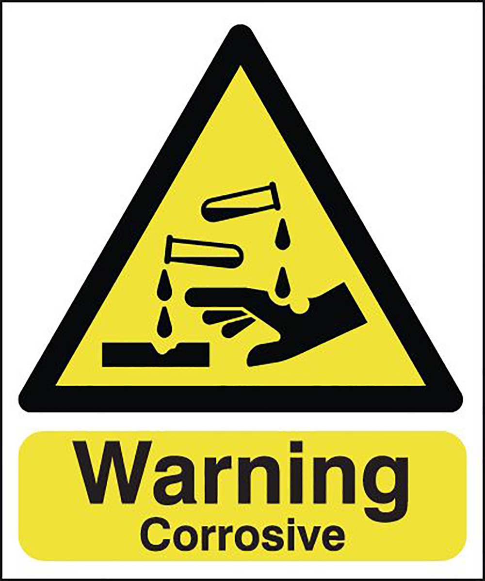 Warning Corrosive 210x148mm 1.2mm Rigid Plastic Safety Sign