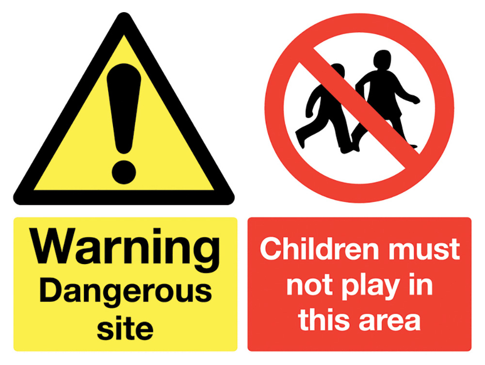 450x600mm Warning Dangerous site Children must not play stanchion sign