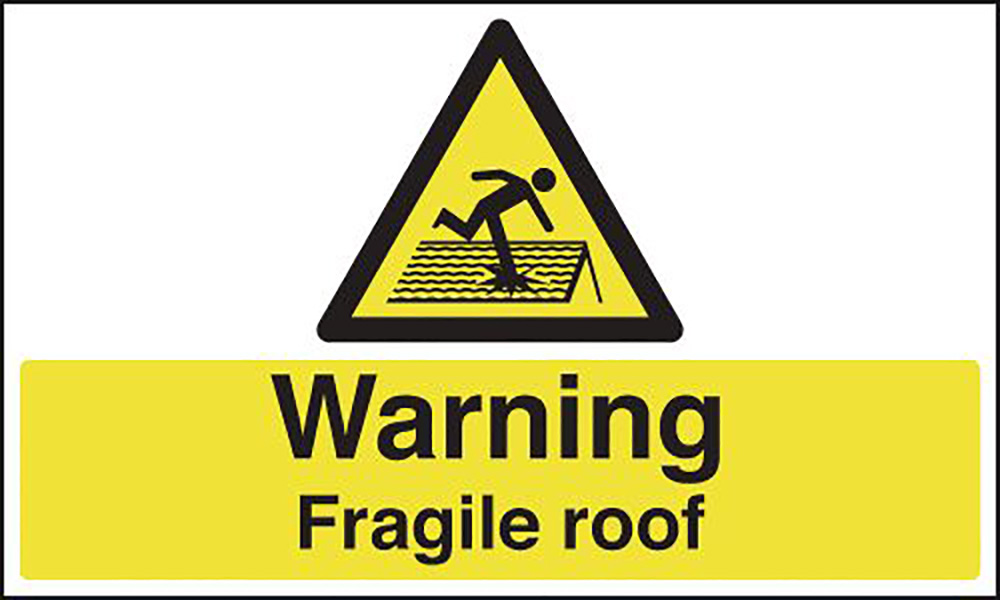 Warning Fragile Roof  300x500mm Self Adhesive Vinyl Safety Sign
