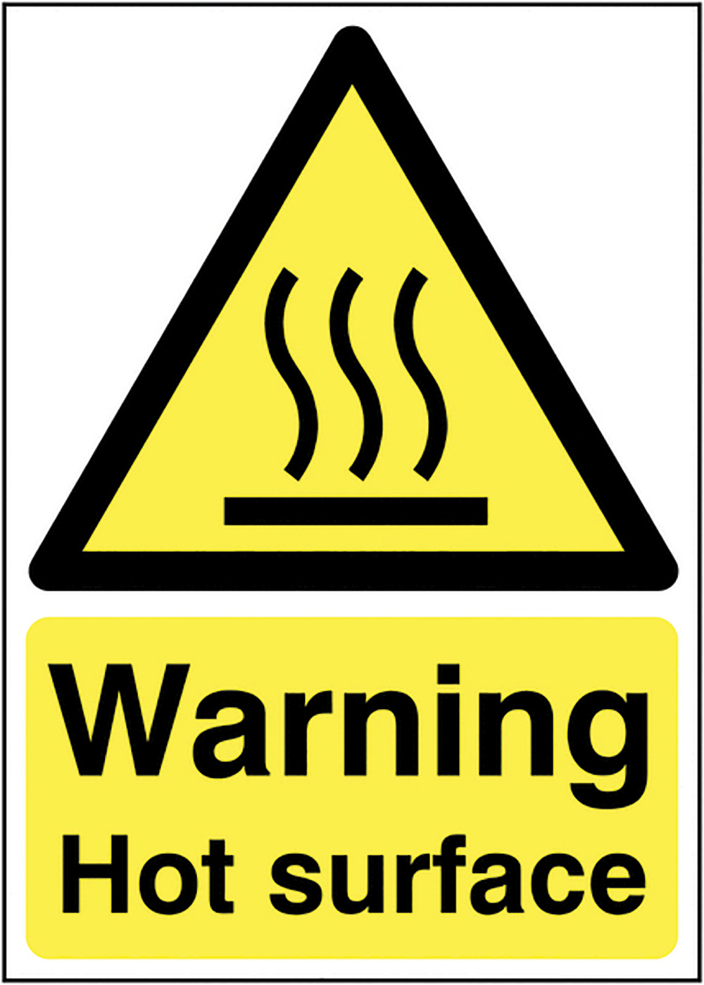 Warning Hot Surface 210x148mm 1.2mm Rigid Plastic Safety Sign