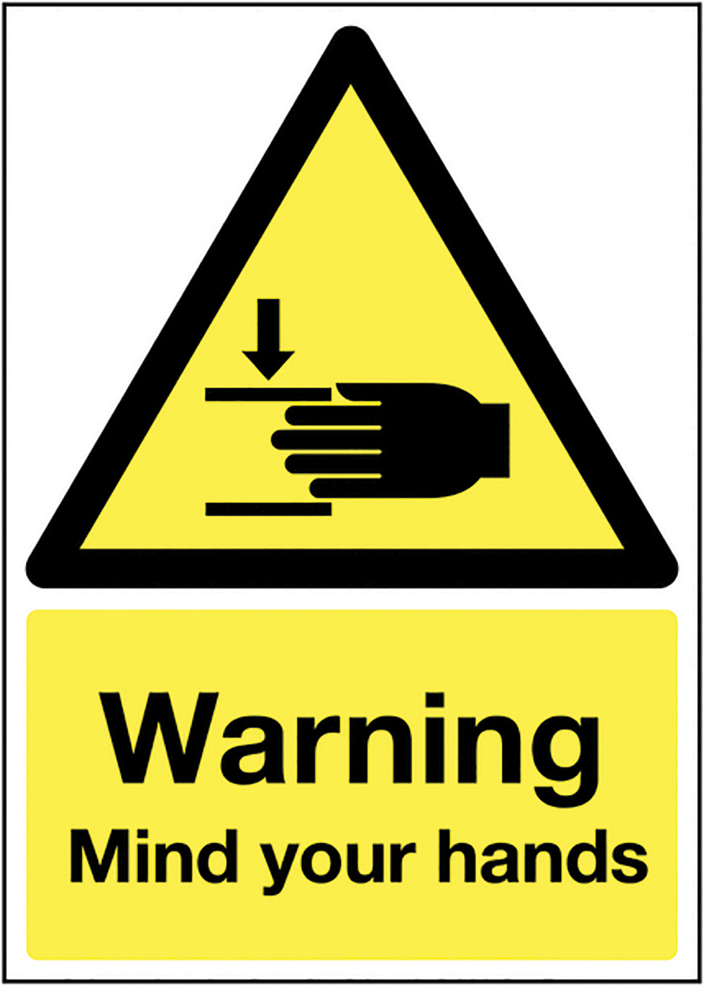 Warning Mind Your Hands 210x148mm 1.2mm Rigid Plastic Safety Sign