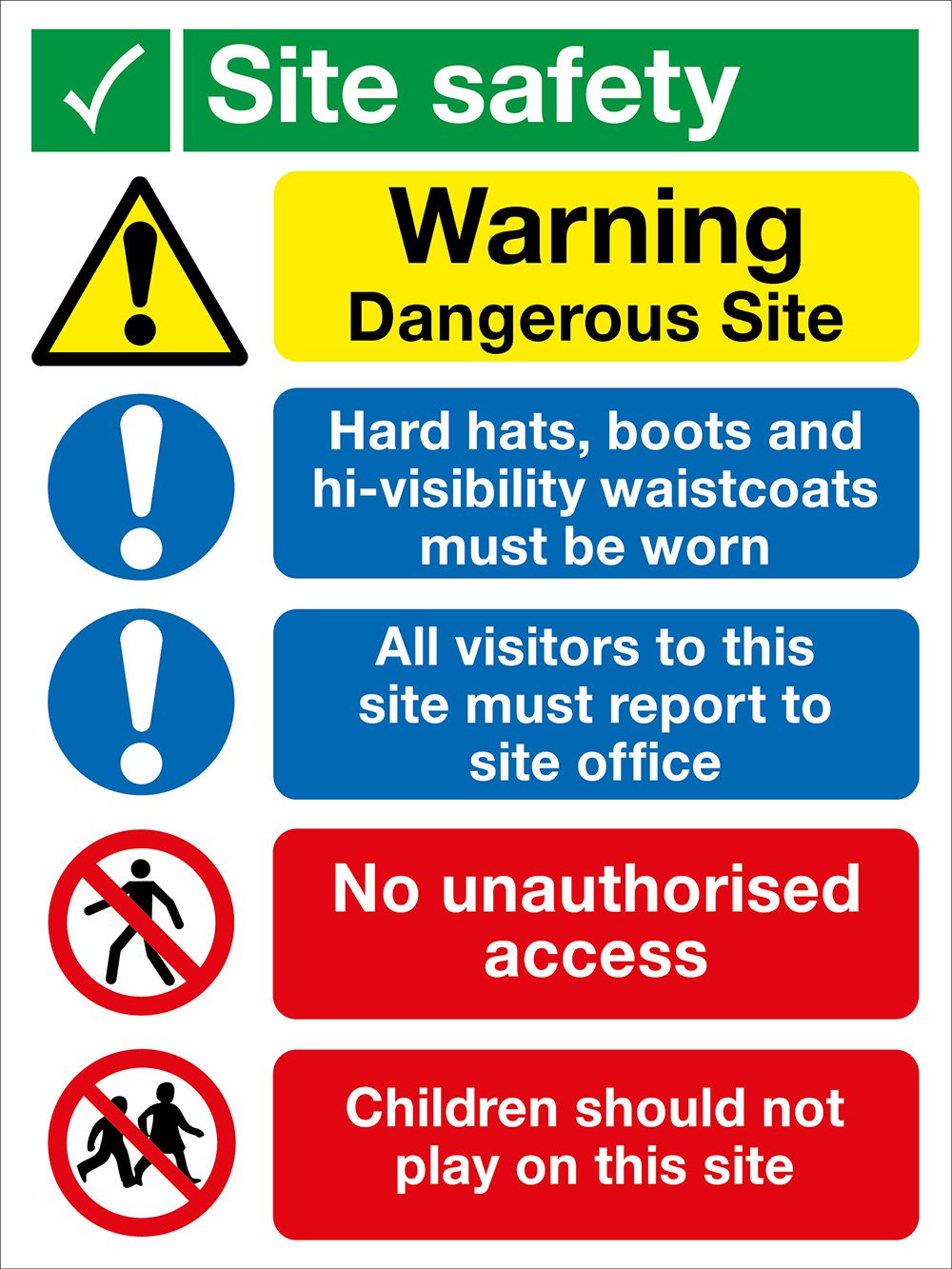 800x600mm Site Safety No Children Site Safety Board