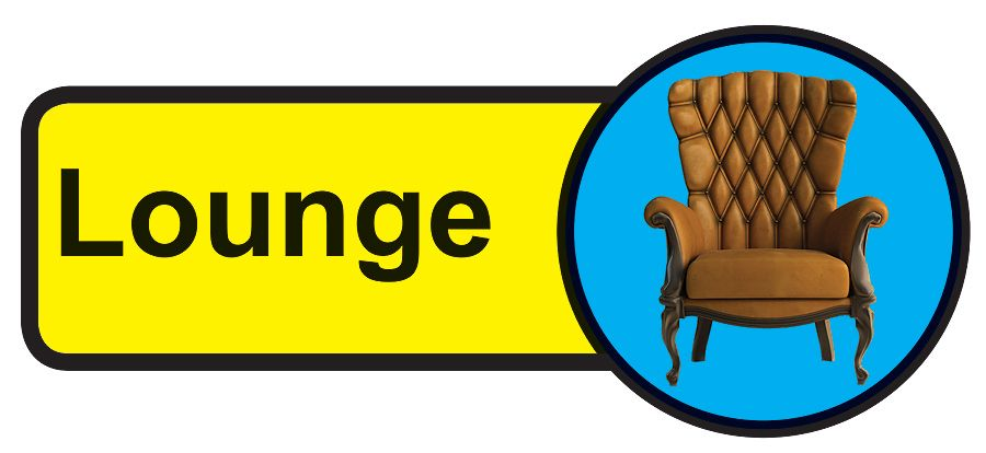 Lounge Dementia Sign  210x480mm 1.2mm Rigid Plastic Safety Sign